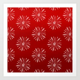 Red Aztec Ombre Pattern Art Print