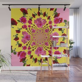 PINK-RED ROSES ON YELLOW-PINK ART Wall Mural