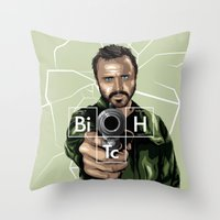 jesse pinkman Throw Pillows featuring Jesse Pinkman by Denis O'Sullivan