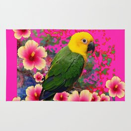 YELLOW HEADED GREEN PARROT PINK HIBISCUS  FUCHSIAFLORAL Rug