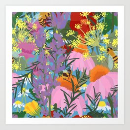 Aromatherapy for the Bees in Sky Blue Art Print