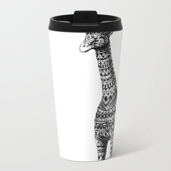 Ornate Giraffe Metal Travel Mug