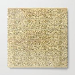 Golden Celtic Pattern on canvas texture Metal Print