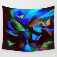 butterflies Wall Tapestries featuring Butterflies by tarrby/Brian Tarr