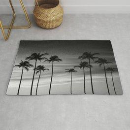 Black & White Palm Trees Photography   Landscape   Sunset    Clouds   Minimalism Rug