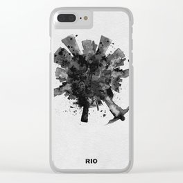 Rio de Janeiro, Brazil Black and White Skyround / Skyline Watercolor Painting Clear iPhone Case