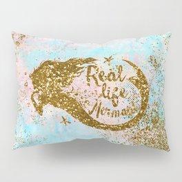 Faux Gold Glitter- REAL LIFE MERMAID On Sea Foam Pillow Sham