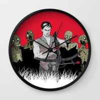 daryl dixon Wall Clocks featuring Daryl Dixon by ArtisticCole