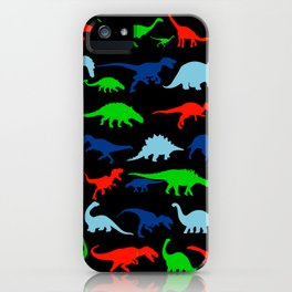 silhouettes of dinosaur pattern iPhone Case