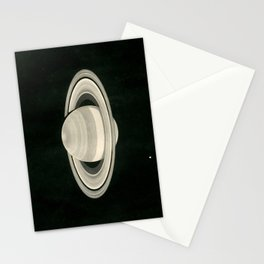 Print of a drawing by Warren De la Rue of Saturn and its moons Tethys and Enceladus - 1852 Stationery Cards