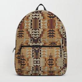 Orange Khaki Dark Brown Mosaic Pattern Backpack
