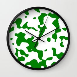 Large Spots - White and Green Wall Clock