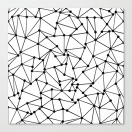 Ab Out Lines With Spots White Canvas Print