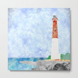 Watercolor Collage Lighthouse Metal Print