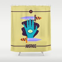 justice league Shower Curtains featuring JUSTICE by badOdds