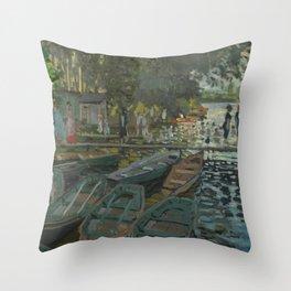 Claude Monet - Bathers at La Grenouillère Throw Pillow