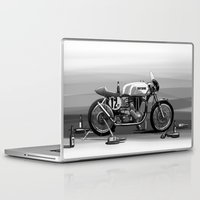 cafe racer Laptop & iPad Skins featuring Beer Savage Vintage Norton Cafe Racer by TCORNELIUS