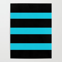 Hollywood Nights Black and Teal Stripes Poster