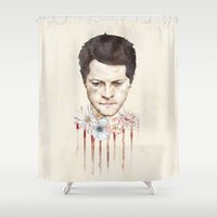 castiel Shower Curtains featuring Castiel by mycolour