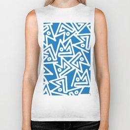 Abstract sky blue white geometrical modern pattern Biker Tank