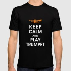 Keep Calm and Play Trumpet Mens Fitted Tee Black MEDIUM