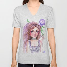 Liliana Octopus Girl Fantasy Surreal Art Unisex V-Neck