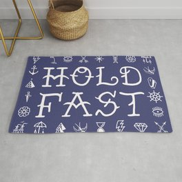 Uncle Knuckles - Hold Fast - White on Navy Rug