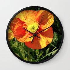 Orange Poppy I Wall Clock