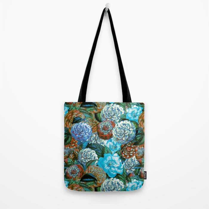 Vintage & Shabby - blue floral camellia flowers watercolor pattern Tote Bag