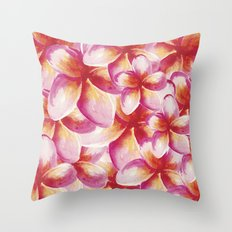 Plumeria Floral Watercolor Throw Pillow