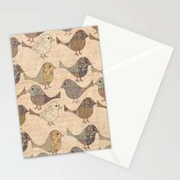 Nostalgic Autumn Patchwork Bird Pattern in warm retro colors #autumndecoration Stationery Cards