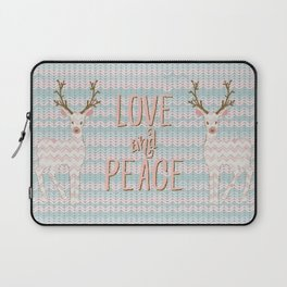 Love and Peace Knitting Deer Winter Christmas Art Laptop Sleeve