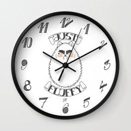 Just Fluffy (Black-Lineart) Wall Clock