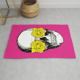 Skull and Roses | Skull and Flowers | Vintage Skull | Pink and Yellow | Rug