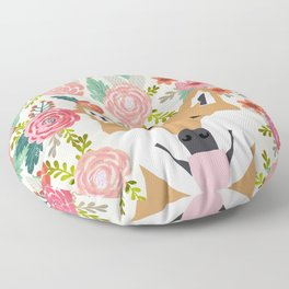 Shiba Inu florals spring summer bright girly hipster dog meme shiba ink puppy pet portraits Floor Pillow