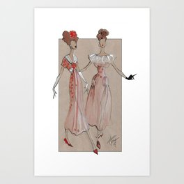 Fashion Illustration - Pink Gowns Art Print
