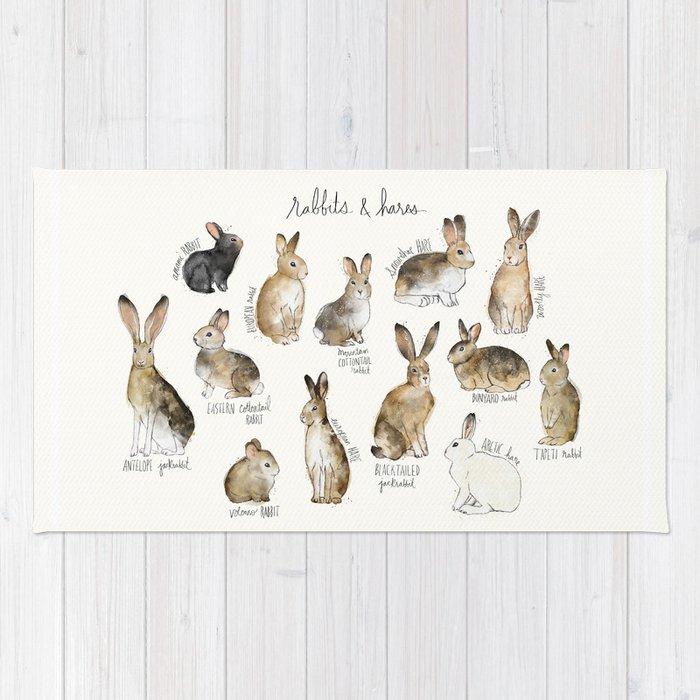 Rabbits Hares Rug By Amyhamilton Society6