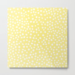 Pastel yellow and white doodle dots Metal Print