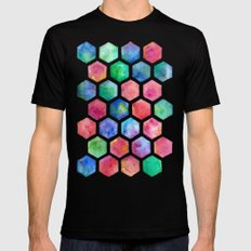 Hand Painted Watercolor Honeycomb Pattern MEDIUM Mens Fitted Tee Black