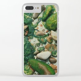 Moss-Covered Rocks in Isle of Skye, Scotland Clear iPhone Case