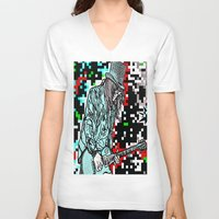 heavy metal V-neck T-shirts featuring Abstract Heavy Metal Rocks by Saundra Myles