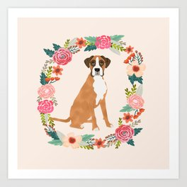 Boxer floral wreath flowers dog breed gifts Art Print