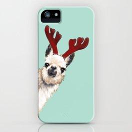 Llama Reindeer in Green iPhone Case