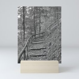 Wooden stairs, black and white photography Mini Art Print