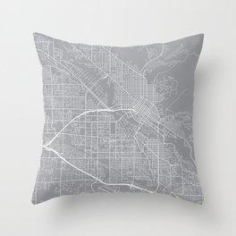 Boise Map, Idaho USA - Pewter Throw Pillow