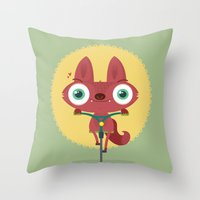 bicycle Throw Pillows featuring Bicycle by Maria Jose Da Luz