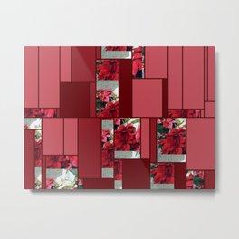 Mixed color Poinsettias 3 Art Rectangles 8 Metal Print