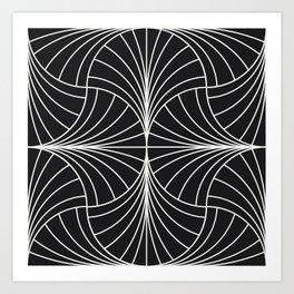 Diamond Series Inter Wave White on Charcoal Art Print