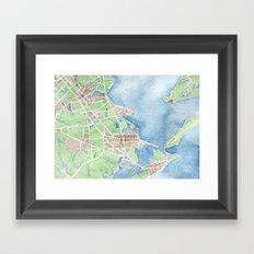 Coastal Map of Galveston TX Framed Art Print