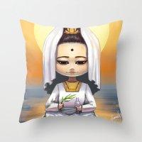 budi satria kwan Throw Pillows featuring Kwan Yin  by Lurraeh Somohano